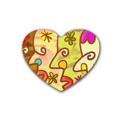 Abstract Faces Abstract Spiral Rubber Coaster (heart)  by Amaryn4rt