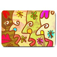 Abstract Faces Abstract Spiral Large Doormat  by Amaryn4rt