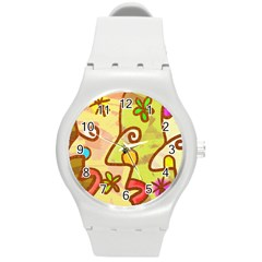 Abstract Faces Abstract Spiral Round Plastic Sport Watch (m) by Amaryn4rt