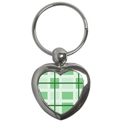Abstract Green Squares Background Key Chains (heart)  by Amaryn4rt