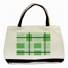Abstract Green Squares Background Basic Tote Bag (two Sides) by Amaryn4rt