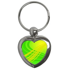 Abstract Green Yellow Background Key Chains (heart)  by Amaryn4rt