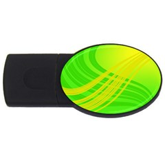 Abstract Green Yellow Background Usb Flash Drive Oval (2 Gb)