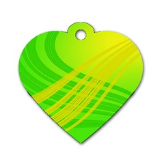 Abstract Green Yellow Background Dog Tag Heart (one Side) by Amaryn4rt
