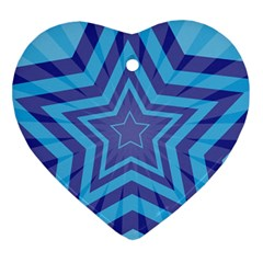 Abstract Starburst Blue Star Ornament (heart) by Amaryn4rt