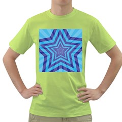 Abstract Starburst Blue Star Green T Shirt by Amaryn4rt