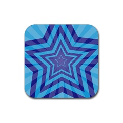 Abstract Starburst Blue Star Rubber Square Coaster (4 Pack)  by Amaryn4rt