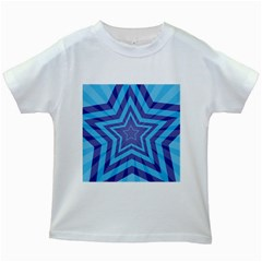 Abstract Starburst Blue Star Kids White T Shirts by Amaryn4rt