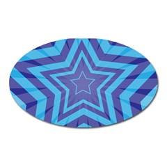 Abstract Starburst Blue Star Oval Magnet by Amaryn4rt