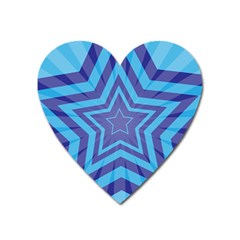 Abstract Starburst Blue Star Heart Magnet by Amaryn4rt