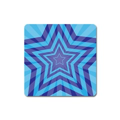 Abstract Starburst Blue Star Square Magnet by Amaryn4rt