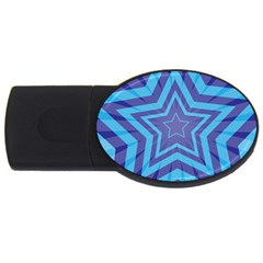 Abstract Starburst Blue Star Usb Flash Drive Oval (2 Gb) by Amaryn4rt