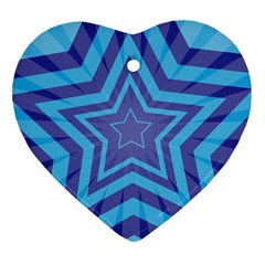 Abstract Starburst Blue Star Heart Ornament (two Sides) by Amaryn4rt