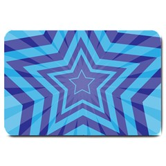 Abstract Starburst Blue Star Large Doormat  by Amaryn4rt