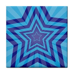 Abstract Starburst Blue Star Face Towel by Amaryn4rt