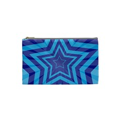 Abstract Starburst Blue Star Cosmetic Bag (small)  by Amaryn4rt