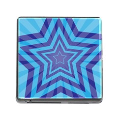 Abstract Starburst Blue Star Memory Card Reader (square) by Amaryn4rt