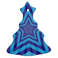 Abstract Starburst Blue Star Christmas Tree Ornament (two Sides) by Amaryn4rt