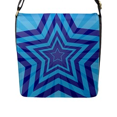 Abstract Starburst Blue Star Flap Messenger Bag (l)  by Amaryn4rt