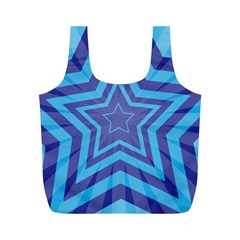Abstract Starburst Blue Star Full Print Recycle Bags (m)  by Amaryn4rt