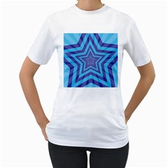Abstract Starburst Blue Star Women s T Shirt (white)  by Amaryn4rt