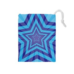 Abstract Starburst Blue Star Drawstring Pouches (medium)  by Amaryn4rt