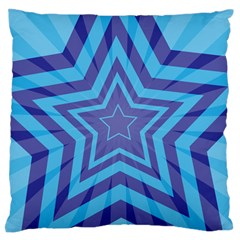 Abstract Starburst Blue Star Large Flano Cushion Case (one Side) by Amaryn4rt