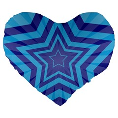 Abstract Starburst Blue Star Large 19  Premium Flano Heart Shape Cushions by Amaryn4rt
