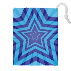 Abstract Starburst Blue Star Drawstring Pouches (xxl) by Amaryn4rt