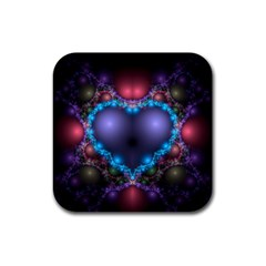 Blue Heart Rubber Square Coaster (4 Pack)  by Amaryn4rt