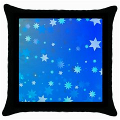 Blue Hot Pattern Blue Star Background Throw Pillow Case (black)
