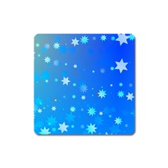 Blue Hot Pattern Blue Star Background Square Magnet by Amaryn4rt