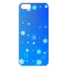 Blue Hot Pattern Blue Star Background Apple Iphone 5 Seamless Case (white)