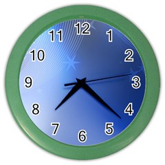Blue Star Background Color Wall Clocks by Amaryn4rt