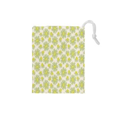 Another Supporting Tulip Flower Floral Yellow Gray Drawstring Pouches (small)