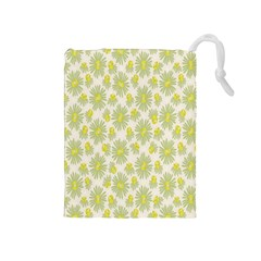 Another Supporting Tulip Flower Floral Yellow Gray Drawstring Pouches (medium)