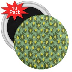 Another Supporting Tulip Flower Floral Yellow Gray Green 3  Magnets (10 Pack)  by Jojostore
