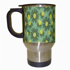 Another Supporting Tulip Flower Floral Yellow Gray Green Travel Mugs (white) by Jojostore