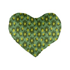 Another Supporting Tulip Flower Floral Yellow Gray Green Standard 16  Premium Heart Shape Cushions by Jojostore