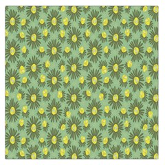 Another Supporting Tulip Flower Floral Yellow Gray Green Large Satin Scarf (square)