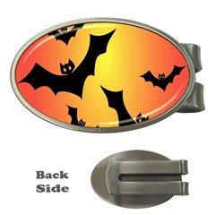 Bats Orange Halloween Illustration Clipart Money Clips (oval)  by Jojostore