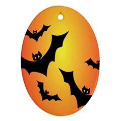Bats Orange Halloween Illustration Clipart Oval Ornament (two Sides) by Jojostore