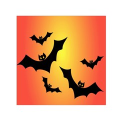 Bats Orange Halloween Illustration Clipart Small Satin Scarf (square)