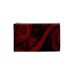 Batik Chevron Wave Free Red Cosmetic Bag (small)  by Jojostore