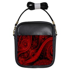 Batik Chevron Wave Free Red Girls Sling Bags