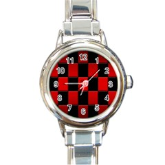 Board Red Black Round Italian Charm Watch by Jojostore