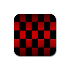 Board Red Black Rubber Square Coaster (4 Pack)  by Jojostore