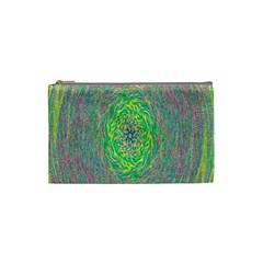 Abstraction Illusion Rotation Green Gray Cosmetic Bag (small)
