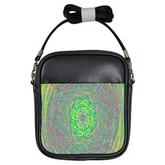 Abstraction Illusion Rotation Green Gray Girls Sling Bags by Jojostore