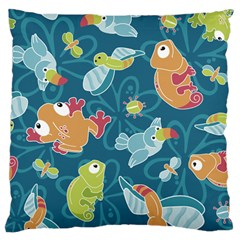 Animals Bee Frog Peacock Iguana Jpeg Large Flano Cushion Case (one Side) by Jojostore